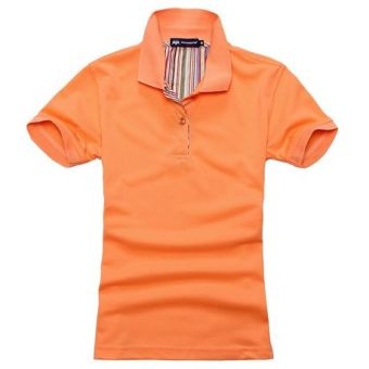 Beads to solid color Short sleeve lettered T-shirt polo shirt (Orange)