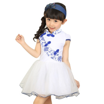 Big kid New style Tutu skirt girls dress (Light blue (fat children buy big a code))