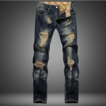Big Size 28-42 Hole Metrosexual Straight Destroyed Jeans Casual Slim Ripped Jeans Homme Retro Men's Trousers Denim High Quality Cotton- Dark Blue - intl