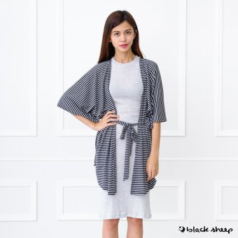 Blacksheep Oversized Kimono Cover-Up With Self-Fabric Ties (Gray)