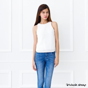 Blacksheep Perforated Sleeveless Top With Back Zipper Opening (Off White)