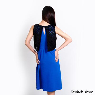 Blacksheep Sleeveless Midi Dress With Lacercut Overlay Detail (Blue)