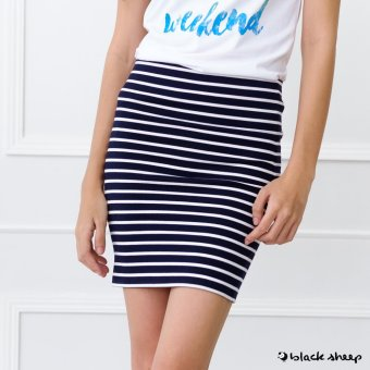 Blacksheep Striped Bandage Skirt (Black)
