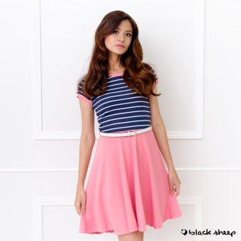 Blacksheep Two-Fer Skater Dress With Striped Top And Free Belt (Pink)