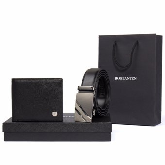 Bostanten Men's Genuine Leather Belts And Genuine Cowhide Leather Bifold Wallet Gift Box Black - intl