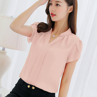 CALAN DIANA Women's Fashion V-Neck Chiffon Short Sleeve Shirt Color Varies (Pink)