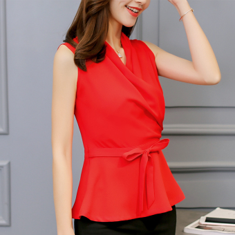 CALAN DIANA Women's Korean-style Slim Fit Chiffon Sleeveless Shirt (Red)