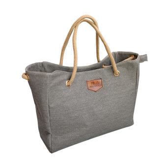 Canvas Shoulder Bag Tote Bag Lady Diagonal Package For Women Girls(Grey) - intl