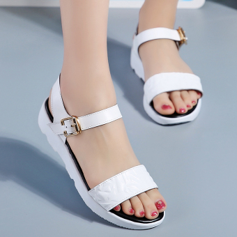 Casual leather flat heel pregnant women's shoes Korean-style sandals (White)