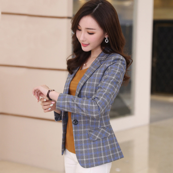 Casual thousands of birds female Spring and Autumn small suit (Blue grid striped)