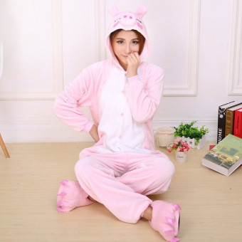 CatWalk Piggy Adult Unisex Pajamas Cosplay Costume Onesie Sleepwear S-XL (Pink)