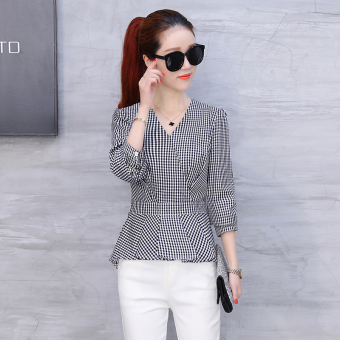Chic Korean female long-sleeved New style shirt plaid shirt (Black)