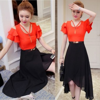 Chiffon temperament long section Slimming effect skirt off-the-shoulder dress (Orange color)