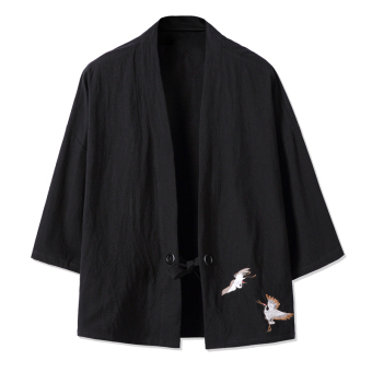 Chinese-style retro men sleeve cardigan jacket Chinese clothing kimono (Black)