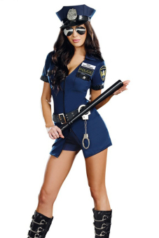 Cocotina Sexy Lingerie Police Uniform Cosplay Costume Fancy DressBelt Hat Handcuffs Baton Nightwear Outfit