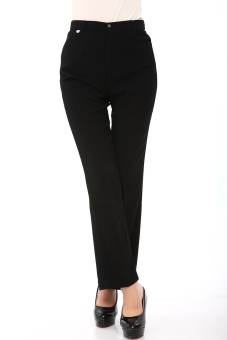 Commuter black straight Slim fit pants women's pants