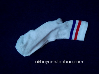 Cool versatile Cotton Short Tube skateboard men's socks striped socks (White Socks (blue Hong bar))