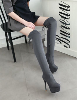 COS sexy ultra-high-heeled thin heeled Women's boots (Gray)
