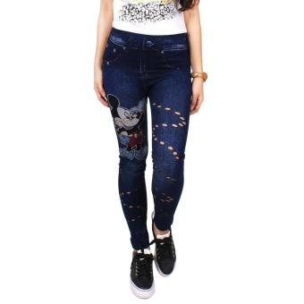 Cotton Republic Skinny Fashionable Printed Jeggings with PatternedHoles - Angelica (Denim Blue)