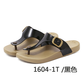 Couple's Shishang flip-flop male flat sandals and slippers (1604-1 black male models)