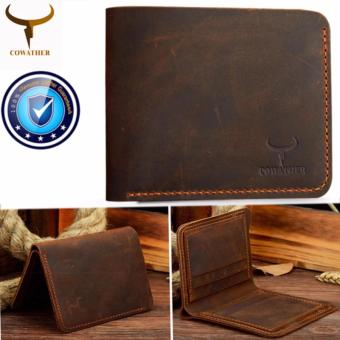 COWATHER Top Horse Leather Men Wallets Purse Genuine Leather Wallet Purse Bag for Men Cowboy Top Leather Thin To Put - intl