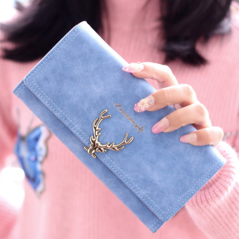 Cute matte deer wallet short wallet (Long-light blue)