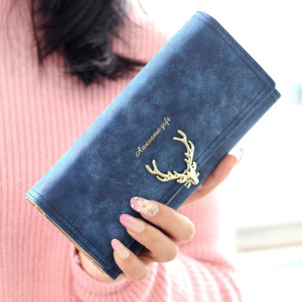 Cute matte deer wallet short wallet (Long sapphire blue)