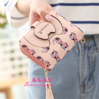 Cute women two fold zipper small wallet short wallet (Pink)