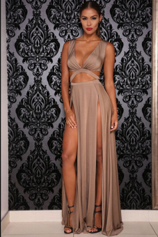 Cyber High Waist Sexy Hollow Out Women Long Maxi Full Party Cocktail Club Dresses ( Brown )