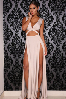 Cyber High Waist Sexy Hollow Out Women Long Maxi Full Party Cocktail Club Dresses ( White )