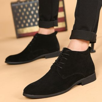 CYOU New Arrival Leather Oxford Lace Up Formal Dress Boot Fashion Mens Pointed Toe Chukka Winter Shoes (Black) - intl