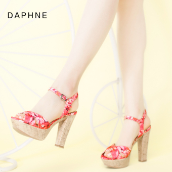 Daphne casual spring and summer slimming printed high with sandals (Pink 113)