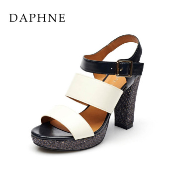 Daphne New style waterproof platform super high-heeled thick with women's sandals (Dark blue color 161)