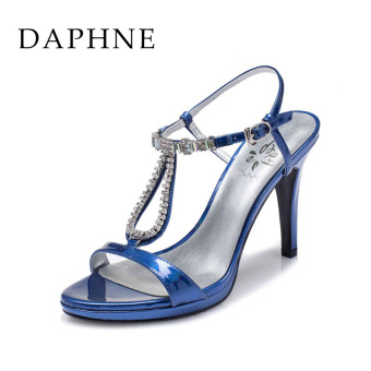 Daphne sexy summer ultra-high thin heeled sandals (Dark blue color 161)