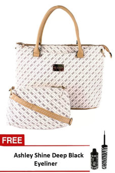Elena 2135 Shoulder with Sling Bag (Cream and Apricot) With FREE Ashley Shine Deep Black Eyeliner