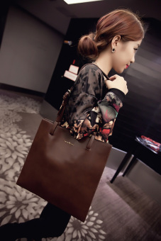European and American New style fashion portable shoulder bag big bag (Deep Brown) (Deep Brown)