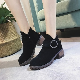 European and American suede semi-high heeled Side Zipper Martin boots short boots (Black)