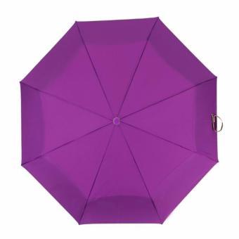 Fashion Automatic Plain Foldable Umbrella - Violet