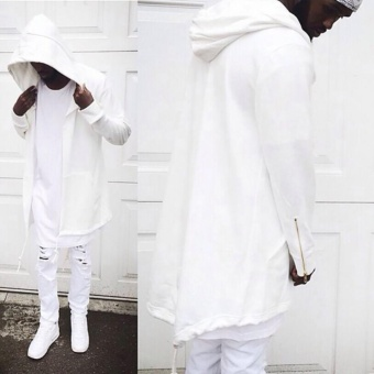 Fashion Mens Cardigan Fit Jacket Hooded Long Cloak Cape CoatCosplay Loose Casual Slim White - intl