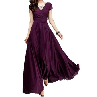 Fashion Summer Style V-Neck Short Sleeve Floral Dress For Women Bohemia Long Beach Maxi Dress(Wine Red) - intl