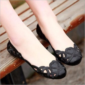 Fashion Women Casual Flats Shoes Crystal Jelly Hollow Slip-on Sandals Flip Flops BLACK - intl