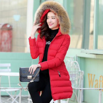 Female mid-length New style winter versatile jacket coat (Red)
