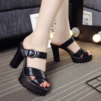 Female Summer waterproof platform slimming high-heeled sandals high-heeled slippers