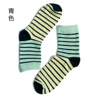 Fine comb cotton tube striped men socks (Light blue)