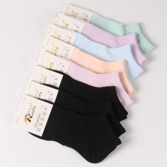Fine comb cotton with breathable women's socks athletic socks ([Fine comb cotton] Black 3 double + pastel 5 double)
