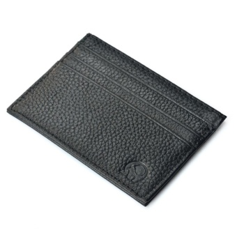 Front Pocket Wallet Minimalist Super Thin 6 Card Wallet Genuine Leather Coin Purse Black - intl