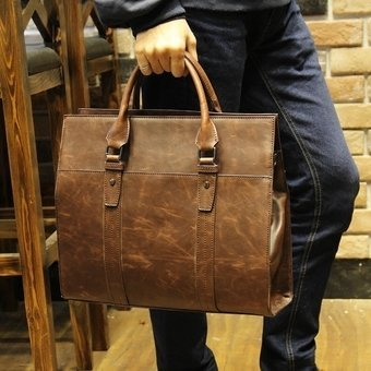 Genuine Cowhide Leather Tote Handbag Male Bag Men Casual SatchelBusiness Bag Briefcase Portable Bag (Coffee) - intl(...)