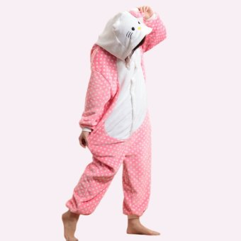 GETEK Kitty Adult Unisex Pajamas Cosplay Costume Onesie SleepwearS-XL (Pink)