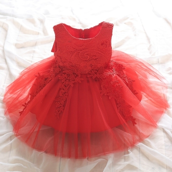 Girls flower girl dress white dress (Short sleeved to be skirt red) (Short sleeved to be skirt red)