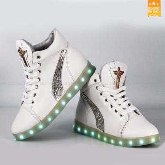 Greatnes D&D Lady's Leisure LED Luminous Height Increasing Shoes Cross Style (White)